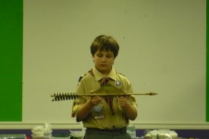 Joe Cool getting his Arrow of Light award in Cub Scouts
