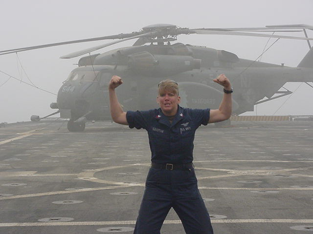 Bluebell on the flight deck with a MH-53 in the background.  I think this is on teh USS Ponce during Operation Iraqi Freedom.
