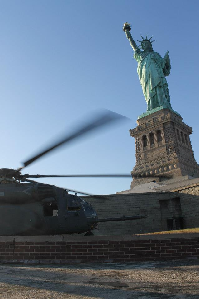 MH-53E at Statue of Liberty