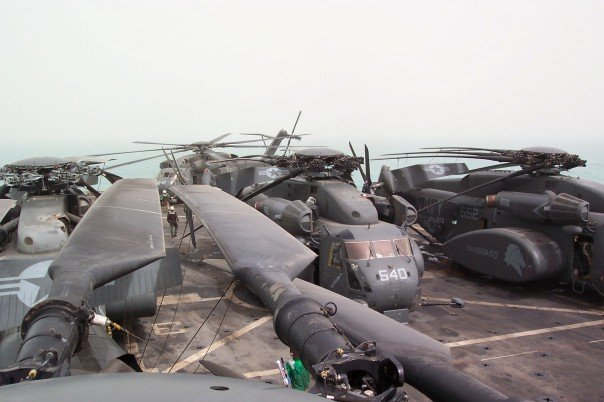 Lots of helos on teh USS Ponce deck
