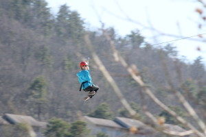 The Genius ziplining!  (He did this two different days)