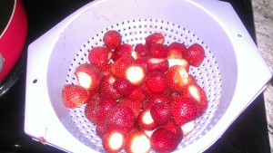 Strawberries rinsed