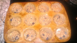 muffins going in oven